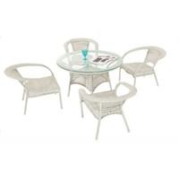 Dovi Rattan Mutfak Masa Takımı 1 Masa 4 Sandalye
