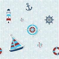 Golden Kids Bordo Mavi Deniz Feneri Desenli Çocuk Duvar Kağıdı