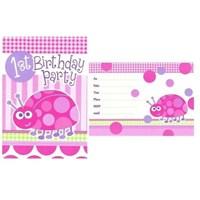 Pandoli First Birthday Uğur Böceği Davetiye 8 Adet