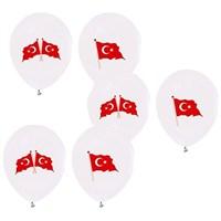 Pandoli 100 Adet Beyaz Bayrak Baskılı Latex Balon