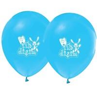 Pandoli 10 Adet İlk Dişim Baskılı Metalik Mavi Balon