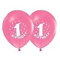 Pandoli 10 Adet Happy Birthday 1 Yaş Pembe Balon