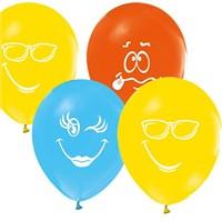Pandoli 25 Adet Renkli Baskılı Yüz İfadeleri Balon