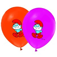 Pandoli 10 Lu Şirinler Baskılı Latex Balon Renkli