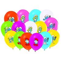 Pandoli 100 Lü Şirinler Baskılı Latex Balon Renkli
