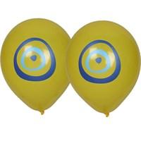 Pandoli 10 Adet Nazar Boncuğu Baskılı Sarı Renk Balon