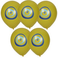 Pandoli 100 Adet Nazar Boncuğu Baskılı Sarı Renk Balon