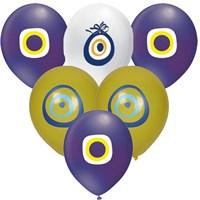 Pandoli 100 Adet Karışık Renk Nazar Boncuğu Latex Balon