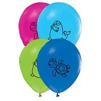 Pandoli 25 Li Deniz Hayvanları Baskılı Latex Renkli Balon