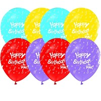 Pandoli 100 Lü Happy Birthday Baskılı Renkli Latex Balon