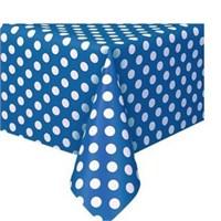 Pandoli Mavi Beyaz Renk Puanlı Plastik Parti Masa Örtüsü