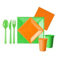 Pandoli 127 Parça Yeşil Turuncu Renk Plastik 16 Kişilik Parti Sofra Seti