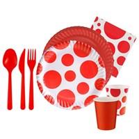 Pandoli 16 Kişilik Kırmızı Beyaz Puanlı 127 Parça Parti Sofra Seti