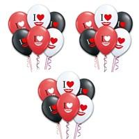 Pandoli I Kalp Dudak Baskılı Renkli Balonlar 100 Adet