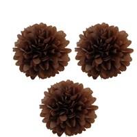 Pandoli 3 Lü Kahverengi Pelur Kağıt Ponpon Çiçek Asma Süs 25 Cm