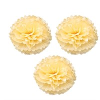 Pandoli 3 Lü Krem Renk Pelur Kağıt Ponpon Çiçek Asma Süs 25 Cm