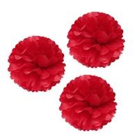 Pandoli 3 Lü Kırmızı Renk Pelur Kağıt Ponpon Çiçek Asma Süs 25 Cm