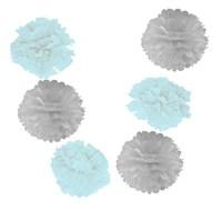 Pandoli 6 Lı Pelur Kağıt Ponpon Çiçek Dizili Asma Süs Mavi Beyaz Renk 10 Cm
