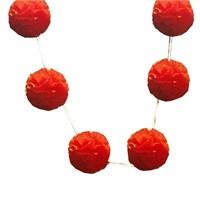 Pandoli 6 Lı Pelur Kağıt Ponpon Çiçek Dizili Asma Süs Kırmızı Renk 10 Cm