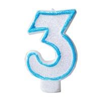 Pandoli Mavi Renk Rakam Mum 3
