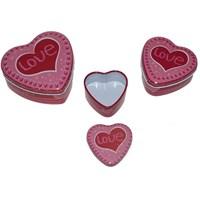Pandoli Metal Pembe Renk I Love 3 Lü Kalp Şeklinde Hediye Kutusu