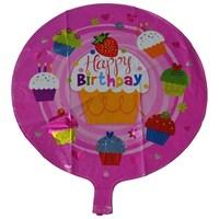Pandoli Cupcake Temalı Pembe Renk Happy Birdhday Folyo Balon