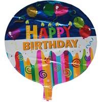 Pandoli Neşeli Çizgiler Temalı Karışık Renk Happy Birdhday Folyo Balon