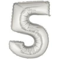 Pandoli 90 Cm Silver Renk Rakamlı Folyo Balon 5 Numara