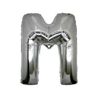 KullanAtMarket M Harf Gümüş Folyo Balon