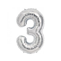 KullanAtMarket 3 Rakam Gümüş Folyo Balon