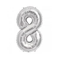 KullanAtMarket 8 Rakam Gümüş Folyo Balon