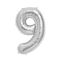 KullanAtMarket 9 Rakam Gümüş Folyo Balon