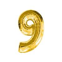 KullanAtMarket 9 Rakam Altın Folyo Balon