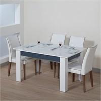 Dessenti Merzuka Yemek Masası Beyaz-İzlanda Mavi
