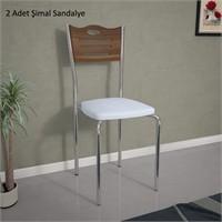 Bunjee Beyaz - Ceviz Şimal Sandalye (2'Li Paket)