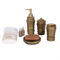 Bosphorus Dekoratif İşlemeli Altın 4 Lü Banyo Seti Poliresin