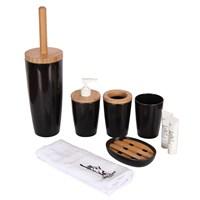 Bosphorus Siyah 5 Li Banyo Seti Bambu-Melamin