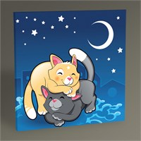 Tablo 360 Gece Ve Kediler Tablo 30X30