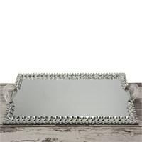 Mukko Home Aynalı Söz Nişan Tepsisi Gümüş 40 X 25 Cm