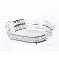 Lucky Art Gümüş Kristalli Oval Tepsi - Me 048