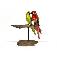 Lucky Art Renkli Kuş Çifti Biblo - 32 Cm