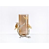 Lucky Art Gold Amber Kelebekli Büyük Vazo - Cd024