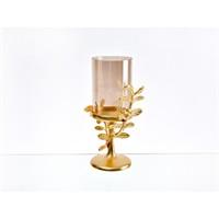 Lucky Art Gold Amber Yapraklı Şamdan - Cd 012