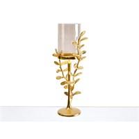 Lucky Art Gold Amber Yapraklı Şamdan - Cd 010