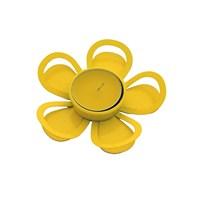 Gold Dekor Tealigt Mumluk Metal Çiçek Sarı