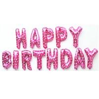 Partisepeti Happy Birthday Pembe + Pompa Folyo Balon