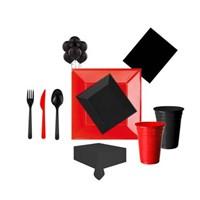 Kırmızı Siyah Parti Seti