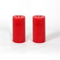 Kırmızı 5*10 Cm Beş Çiçek Kokulu 2'Li Silindir Mum