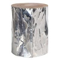 Altıncı Cadde Yüz Formlu Alüminyum Kaplama Tik Tabure 35X45 Cm