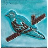 Alldeco Kuşlu Seramik Duvar Dekoru(Polka Mavi) 20 X 20 X 4 Cm